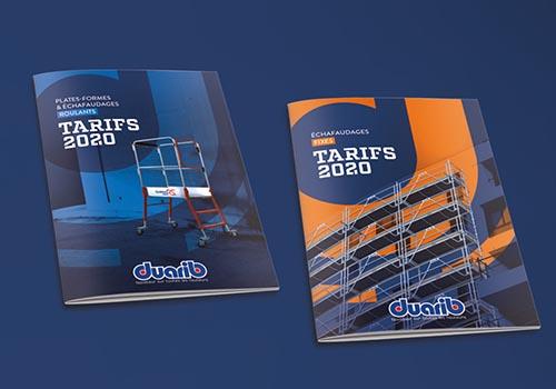 Editions 2020 des catalogues tarifs duarib pour échafaudages et plateformes